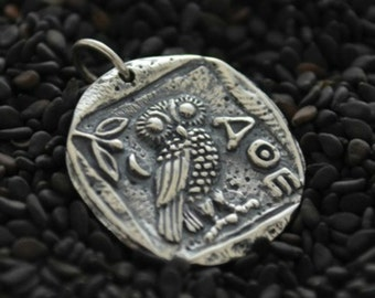 Sterling Silver, Ancient Coin Charm, Athena's Owl, Ancient Coin, Athena Charm, Athena Coin Charm, Silver Ancient Coin, Bronze Ancient Coin
