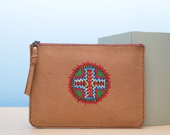 Natural Brown Leather with Southwestern Design Pouch