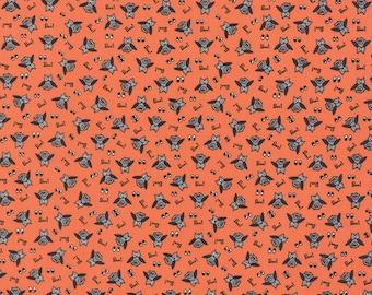 Orange Owl Halloween Fabric - Spooky Delights by Bunny Hill Designs from Moda - 1 Yard