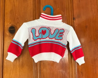 Vintage LOVE sweater, kids vintage, toddler vintage, 18 months