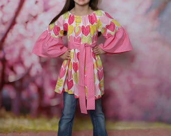 Heart Tunic, Pullover Tunic, Girls Tunic, Toddler Tunic, Little Girl Tunic, Girl Peasant Top, Peasant Top, Valentine's Day Top, Heart Top