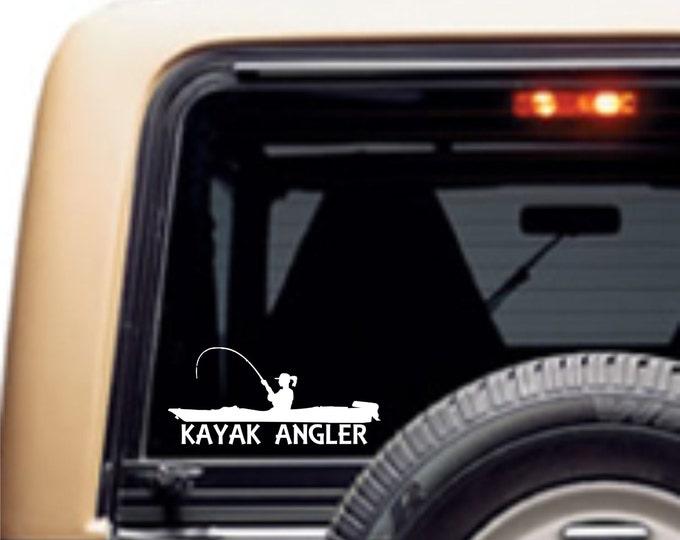Female kayak angler decal, female kayak angler, kayak angler, girl kayak fishing, fish like a girl, woman kayak anger, female kayak fishing