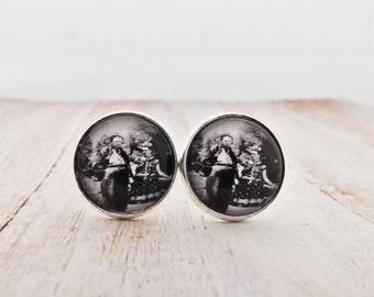 Frida Kahlo and Diego Rivera Gunmetal  / Silver / Antique Bronze Cufflinks