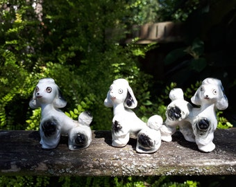 3 Vintage Black and White Ceramic Poodles