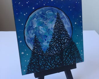 Blue Moon with Trees Mini Painting