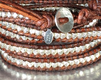 Sterling Silver Nuggets 5 Wrap Brown Leather Bracelet