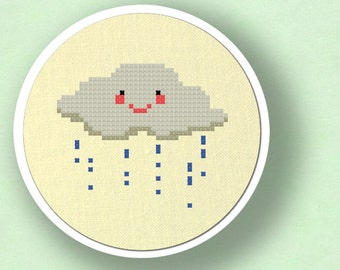 Cute rainy Cloud Cross Stitch Pattern. Modern Simple Cute Counted Cross Stitch PDF Pattern Instant Download