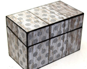 Wood Recipe Box Rustic Barn Wood Light Gray Polka Dots Fits 4x6 Recipe Cards