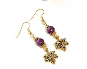 GOLD MAPLE  EARRINGS fall earrings autumn earrings fall jewelry Autumn jewelry leaf earring Czech beads merlot faux pearls