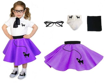 4 pc TODDLER Child (2-3) 50's Poodle Skirt OUTFIT