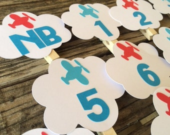 Airplane First Year Banner Photo Clips - Airplane Party, Birthday Party, First Birthday, Photo Props, Aviation