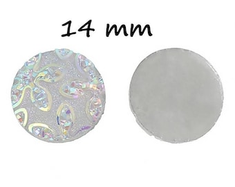 20 cabochons flowers 14 mm round