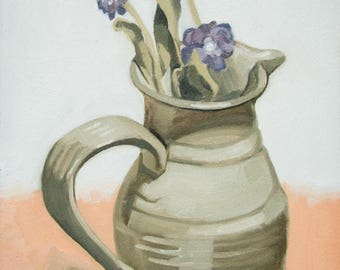 Pitcher and Purple Flowers Oil Painting