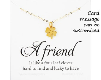 Four leaf clover necklace,shamrock necklace,Gold lucky charm,Best friend gift,graduation gift,sisterhood,birthday gift,csutom message card