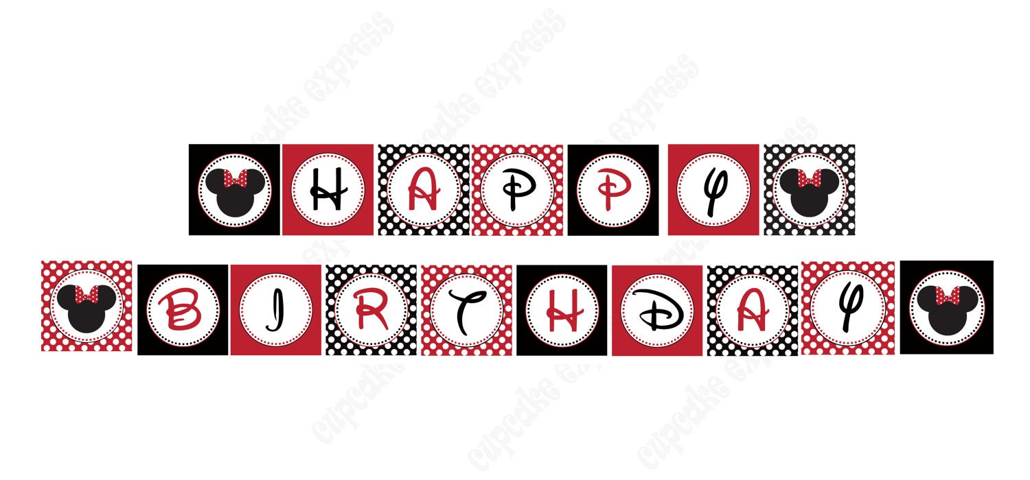 Minnie mouse banner red printable happy birthday party banner zoom biocorpaavc