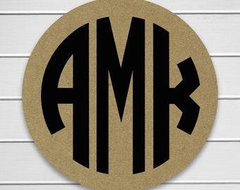 Kraft Monogram Stickers, Invitation Labels, Wedding Labels, Monogram Labels (#638-KR)