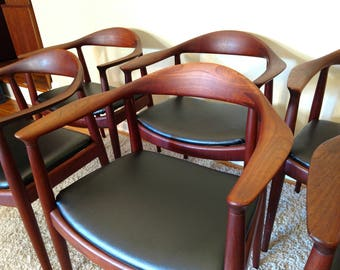"Mid Century Set of Six Hans J. Wegner for Johannes Hansen Dining Chairs, ""The Chair"""