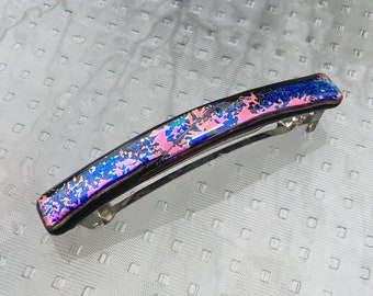 Hair Clip French Barrette, Blue and Pink on Black, Spatter Pattern