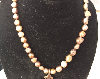 Antique hammered cross  on freshwater pearls necklace