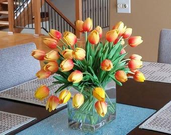 Large Orange Tulip Arrangement, Orange Tulips Floral Centerpiece, Orange/Yellow Tulip Centerpiece, Faux Tulips, Faux Water, Tulip Centerpiec