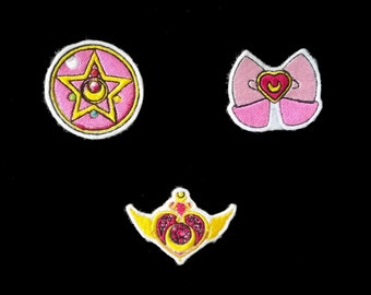 Sailor Moon/Usagi Tsukino Charm Set 3 pcs Iron-On or Sew-On Anime Patch