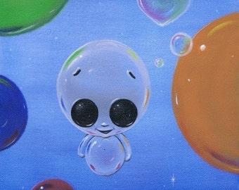 Sugar Fueled Bubble Friends Rainbow Pop Surrealism Lowbrow creepy cute big eyes eye art print