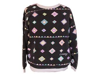 Vintage 80's Geometric Sweatshirt by Greenie Size Large