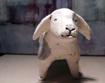 Small White Dog / Unique Animal Ceramic Sculpture