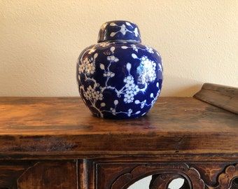 Bright Blue and White Chinese Ginger Jar with Hand-Decorated Cherry Blossoms / Prunus Blossom Design