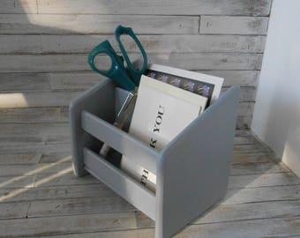 Wood Desk Organizer-Gray Desk Organizer-Message Holder -Organizer/Storage- Pen and Pencil Holder-Gray Message/Pen and Pencil Holder