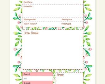Order Form - A4 PDF file - Instant Download - Organization - Business - Planner - Printable - floral - cute -