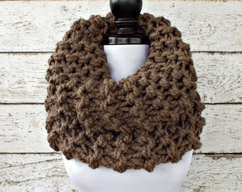 Instant Download Knitting Pattern - Knit Cowl Circle Scarf Pattern - Highlands Oversized Cowl Circle Scarf Knitting Pattern