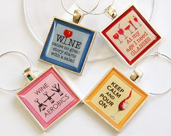 Wine Glass Charms, Funny Wine Charms, Wine Charms, barware, keep calm pour on, gift for wine lover, Wine lover, Oenophilia (4682)