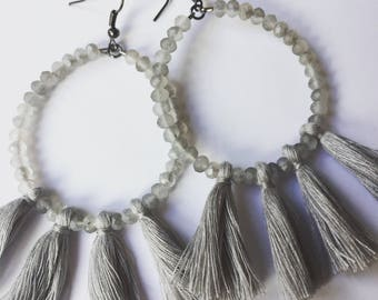Gray beaded tassel earrings