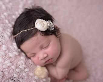 Erin ~ ivory cream vintage rosette dainty delicate newborn organic tieback headband