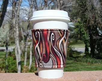 FREE SHIPPING UPGRADE with minimum -  Fabric coffee cozy / cup sleeve / coffee sleeve  -- Coffee Swirls