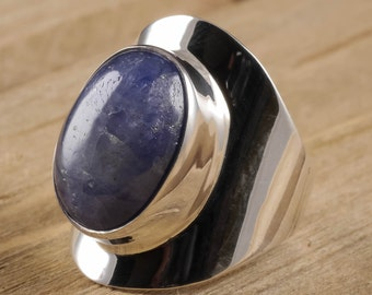 Size 7 Blue SAPPHIRE Ring - Sterling Silver Bezel Ring Handmade Jewelry - Natural Sapphire Stone Cabochon - Sapphire Jewelry J987