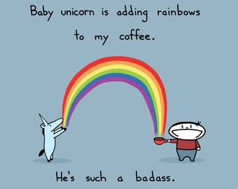 Baby Unicorn Rainbow Coffee 8.5x11 Art Print