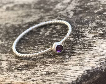 Sterling Silver Simple Swarovski Purple Rope Ring / Hand Forged Ring / Dainty Stacking Ring / Rope Ring