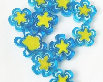 Blue and Yellow Glass Cane Flower Beads - Glass Cane Beads - Glass Beads
