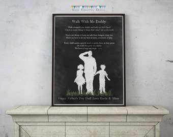Customized Silhouette Family for a Military Dad Father's Day Birthday - Typography Subway