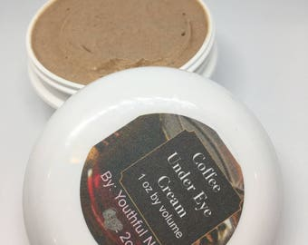 Youthful Coffee Under Eye Cream with an added shot of Caffeine for treatment of dark circles and puffy under eye/wrinkle reducing eye cream