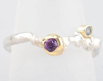 Amethyst, tanzanite, 14ct gold, silver, ethical metal organic ring, boho engagement ring
