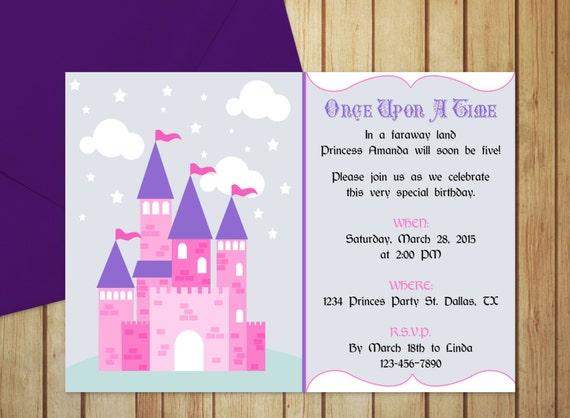 Diy do it yourself pretty princess castle invitation solutioingenieria Image collections