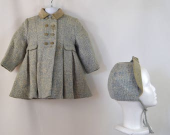 1950s Girls Blue and White Tweed Winter Coat and Matching Cap by Kute Kiddie Classic