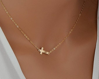 Dainty Cross Necklace, Gold Cross Necklace, Delicate Necklace, Sideways Cross Necklace, Small Cross Necklace