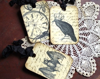 Halloween Tags Assorted Script Background Raven Spider Skull Bat