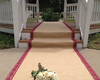 75 Ft Burlap and Lace Aisle Runner - BURGUNDY RED/WINE Lace; Rustic Wedding/Country Wedding/Barn Wedding/Outdoor Wedding/Farm/Beach Wedding