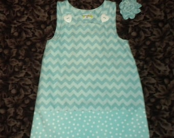 Chevron Dress, 12 month,  Aqua Two Tone (girl, infant, child) -  with matching hair accessory.