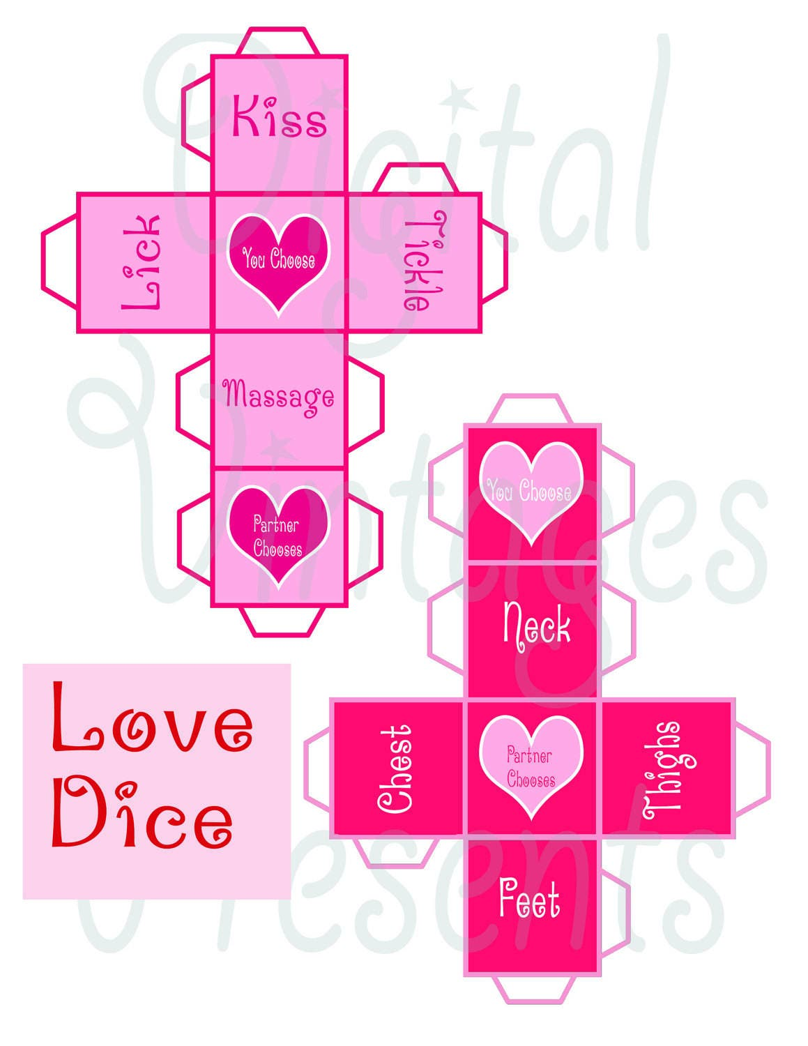 Printable Love Dice Valentine's Day Game Sex Naughty